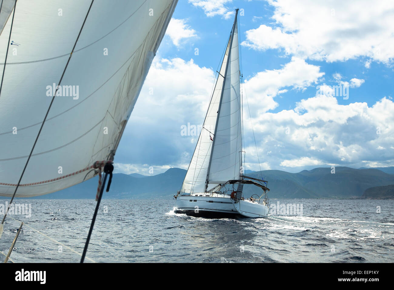 Sailing regatta in inclement weather. Sailboats. Yachting. - Stock Image