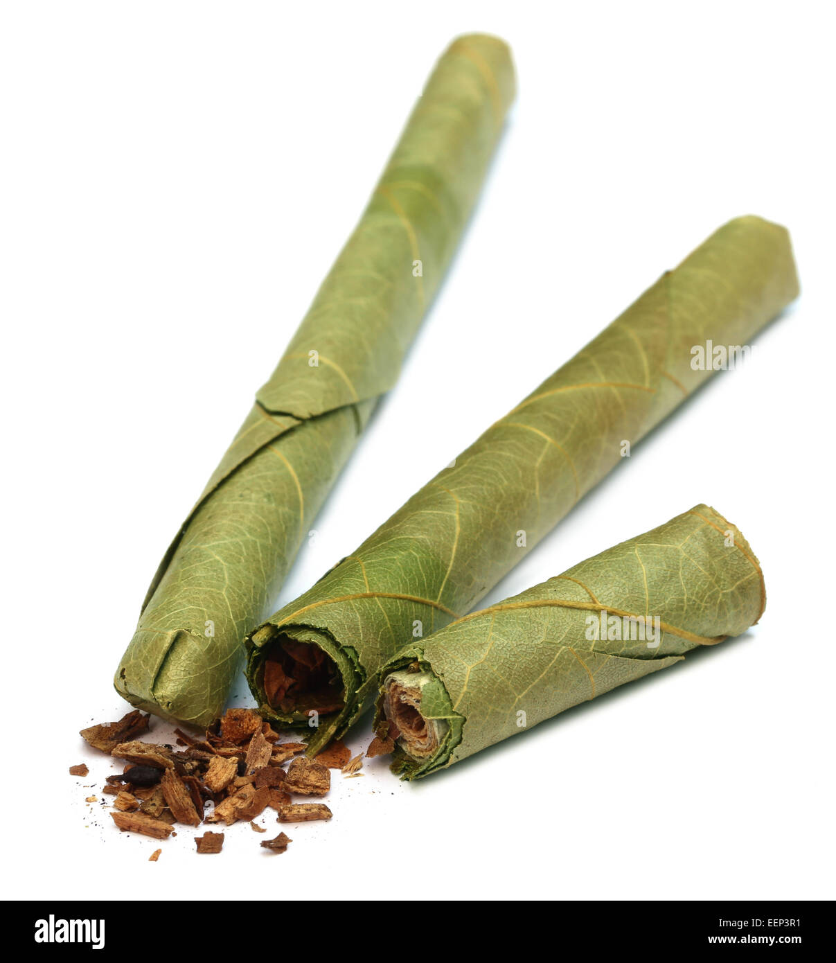 Cigar locally named as Cheroot in Myanmar over white background - Stock Image