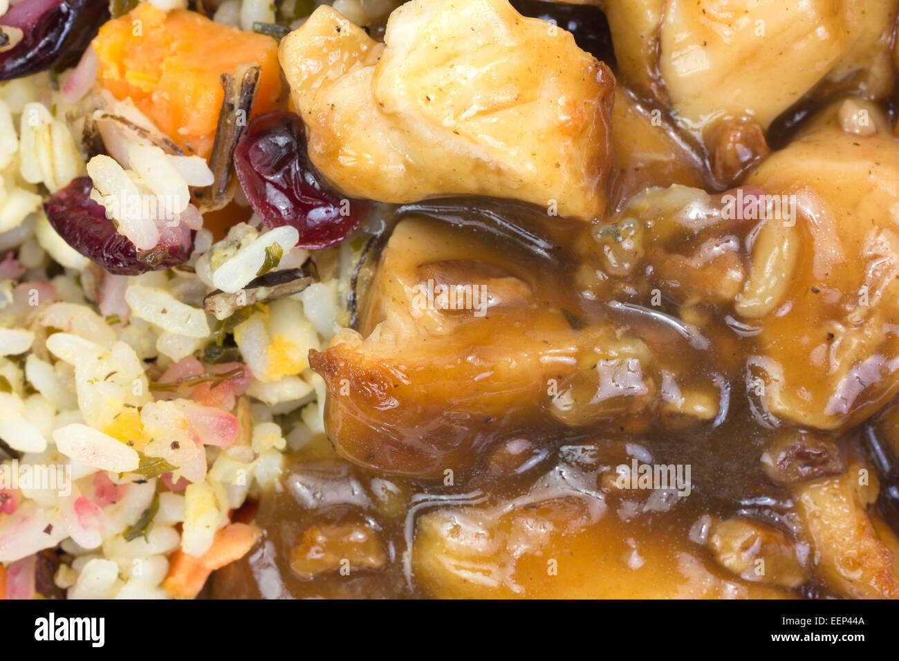 A very close view of chicken in a pecan sauce with rice TV dinner. - Stock Image
