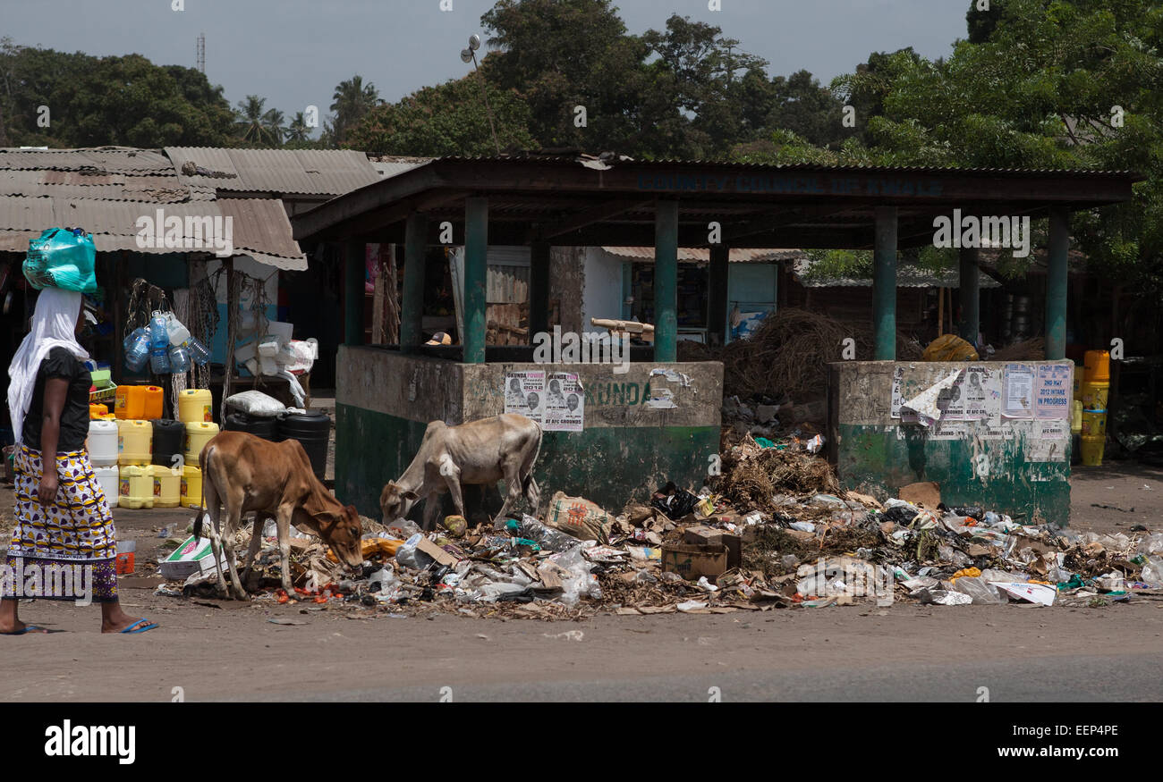 Africa reportage rubbish people evolution devolution - Stock Image