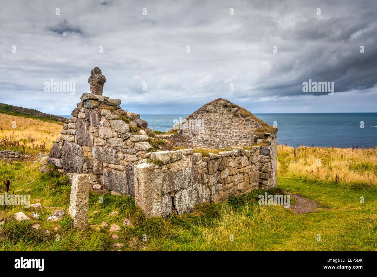 Ruins of St Helens Oratory an early Christian structure at Cape Cornwall near St Just Cornwall England UK Europe - Stock Image