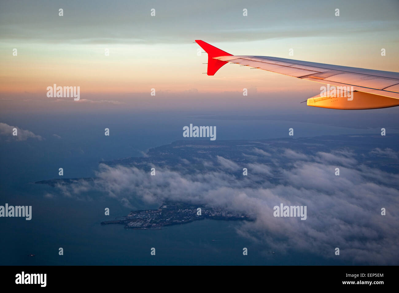 Aerial view from airplane over the city Darwin at sunset, Northern Territory, Australia - Stock Image