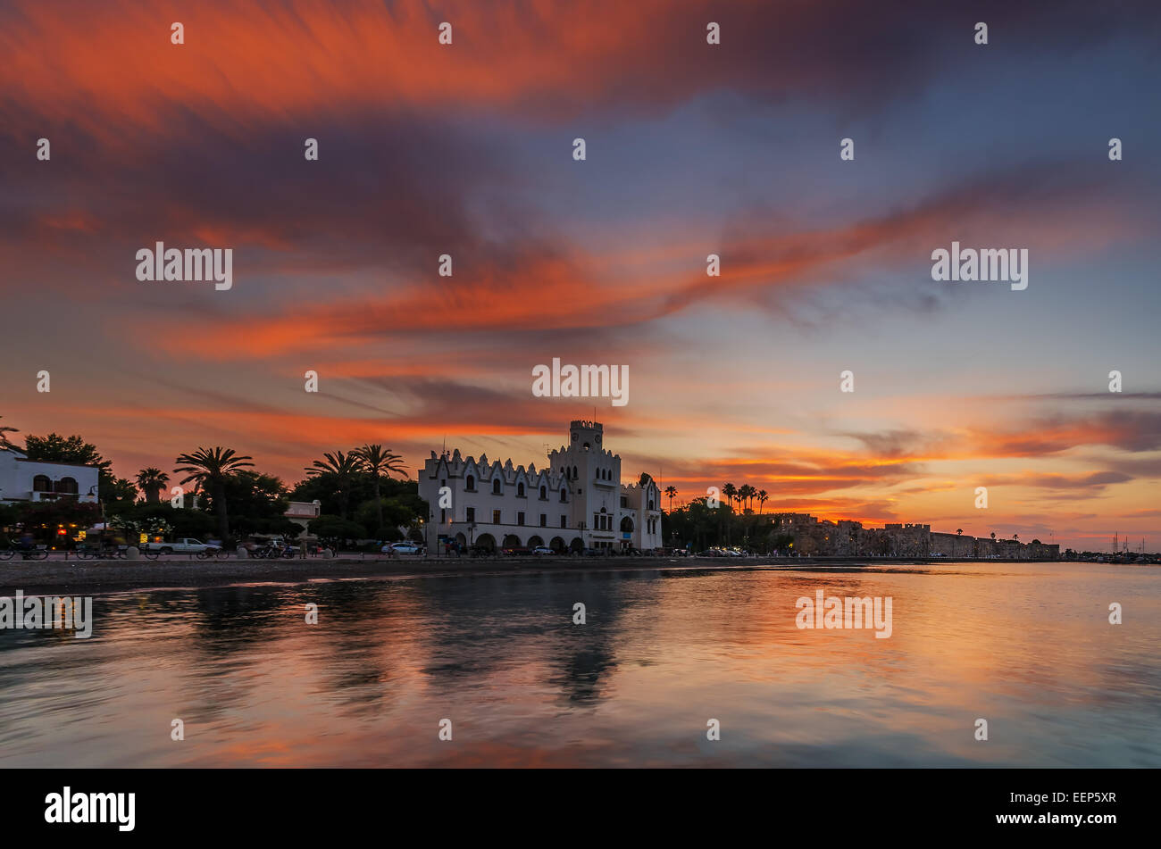 Governorate building at sunset in Kos island Dodecanese Greece - Stock Image