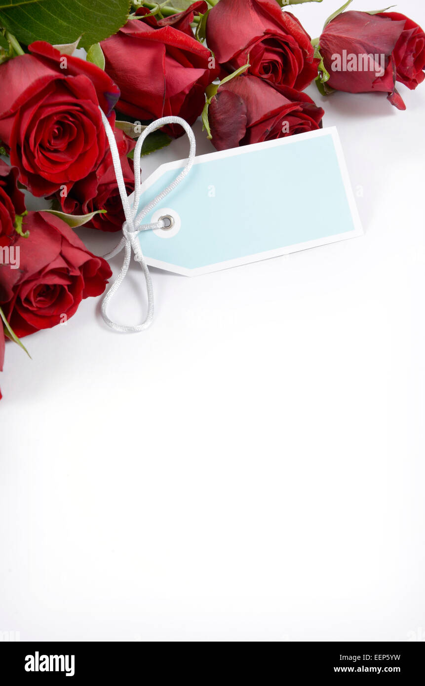 Happy Valentines Day Bouquet Of Red Roses On White Background With