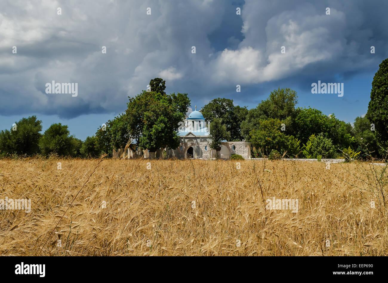 Panagia Syntriani church in kos island Greece - Stock Image