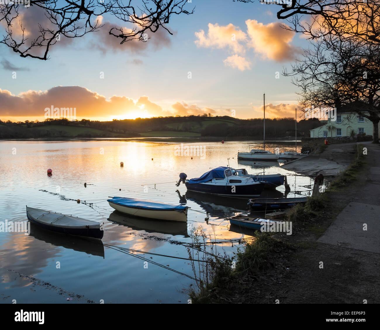 Sunset on the Truro River at Sunny Corner Malpas England UK Europe - Stock Image