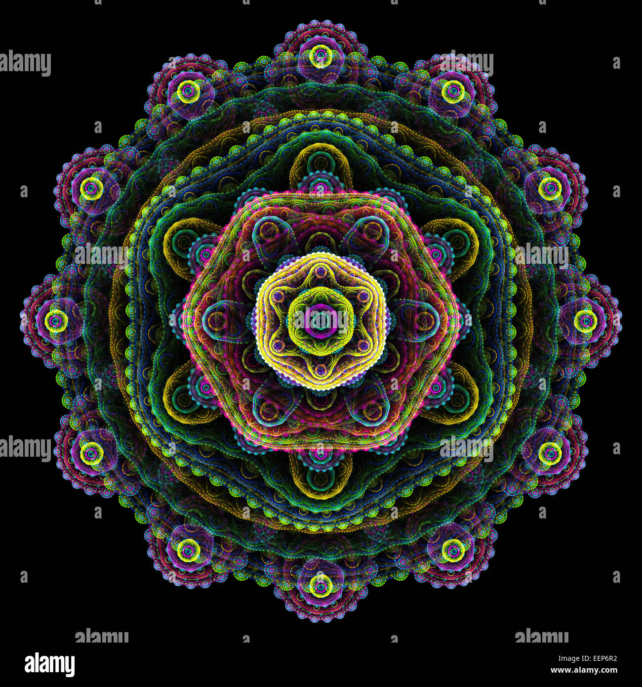 Round 3d Mandala Abstract Multilayer Fractal On The Black
