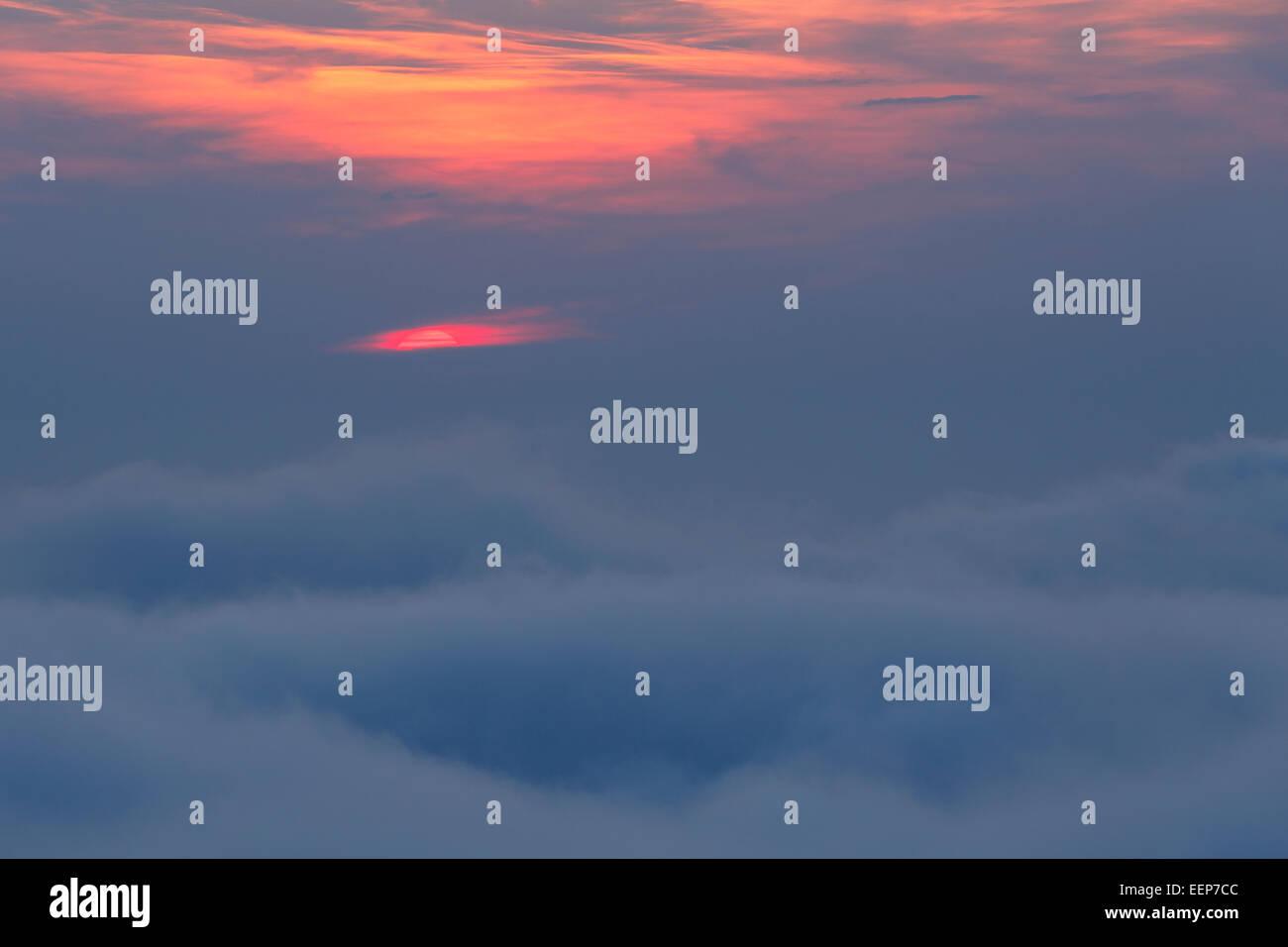 Fog and sun. Jaizkibel mountain. Euskadi. Basque country. Spain. Europe - Stock Image