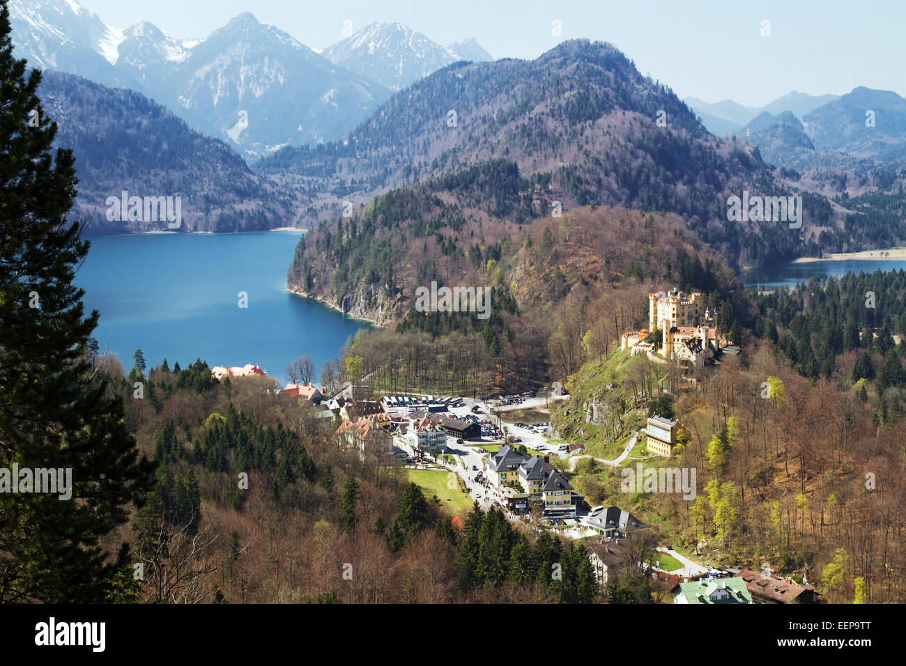 Castle Hohenschwangau with Alpsee, Tannheimer Mountains, Füssen, Swabia, Bavaria, Germany - Stock Image