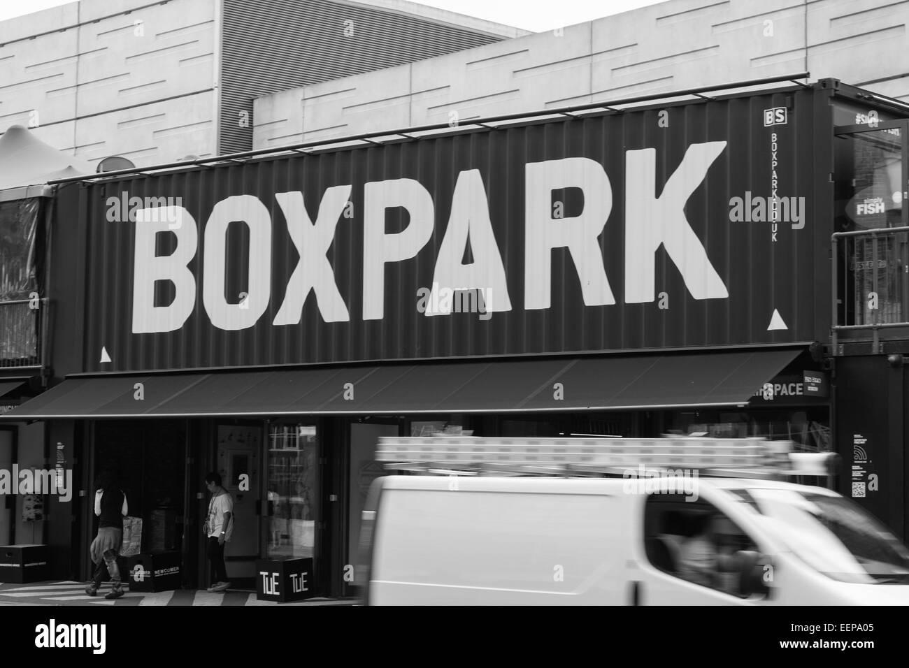 Boxpark, Shoreditch, London - Stock Image