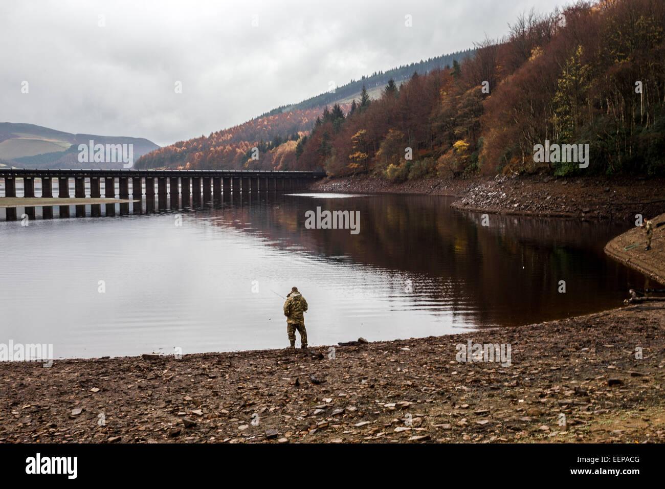 Ladybower Fisherman - Stock Image