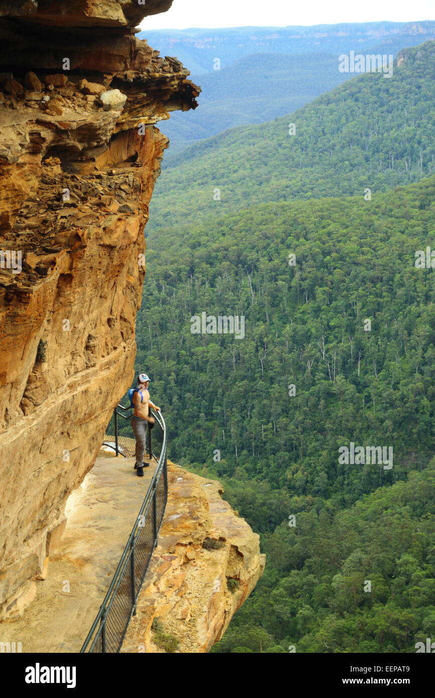 A male hiker rests and enjoys the view of Wentworth Falls from National Pass in the Blue Mountains, near Sydney - Stock Image