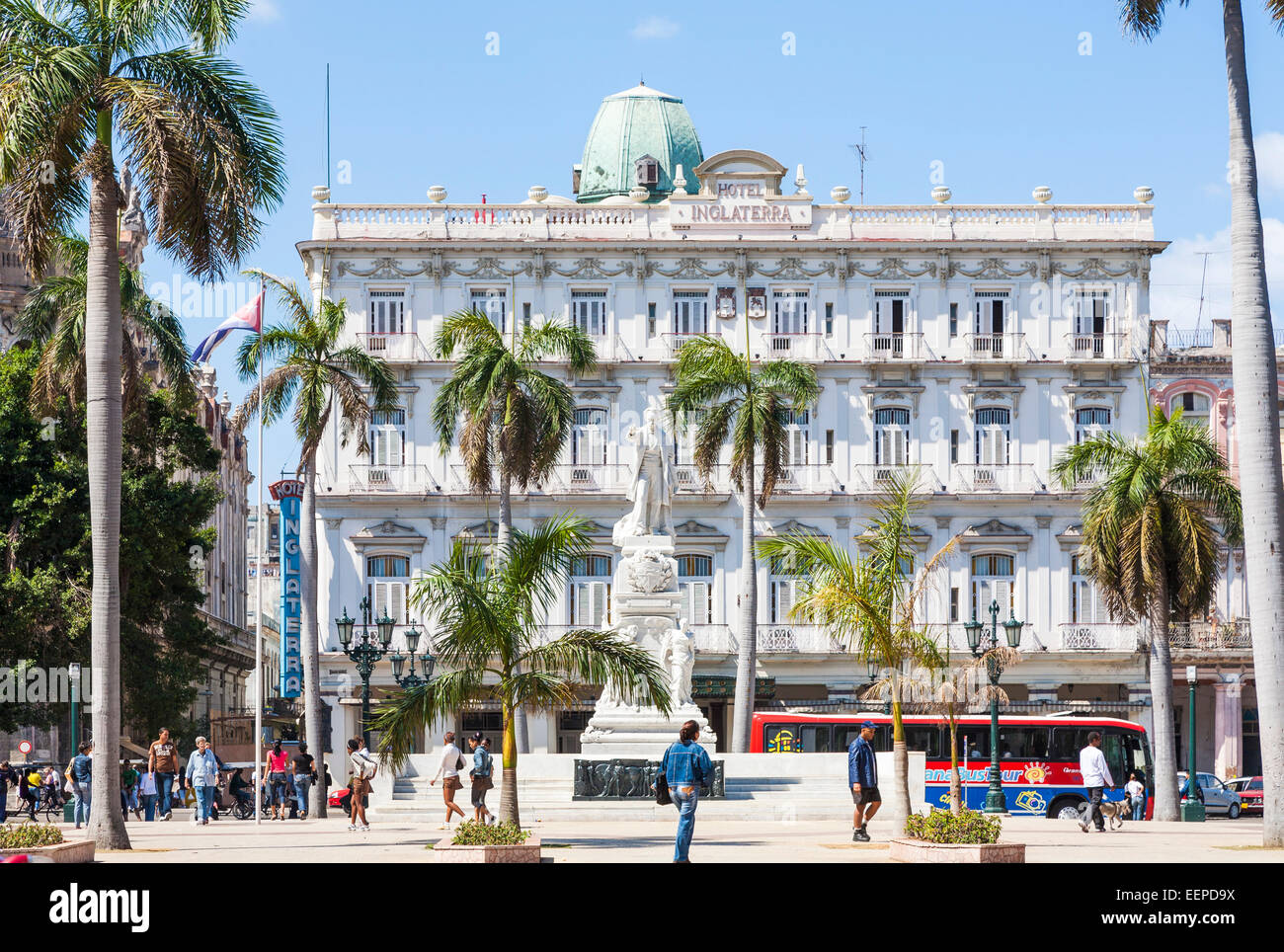 View of the classical frontage of Hotel Inglaterra, the oldest hotel in Cuba, with statue of Jose  Marti, at Parque - Stock Image
