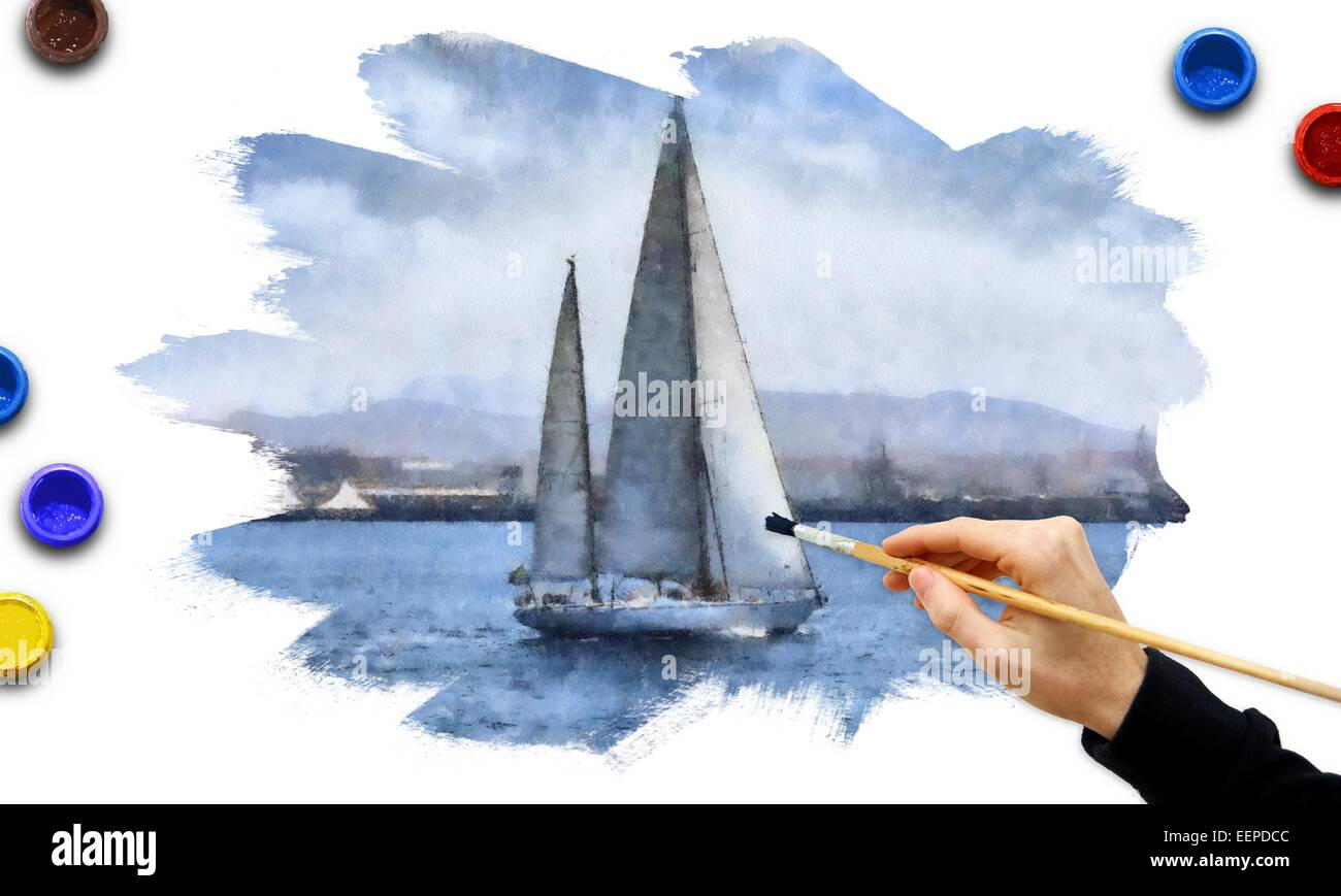 Illustration about sailing boats race - Stock Image