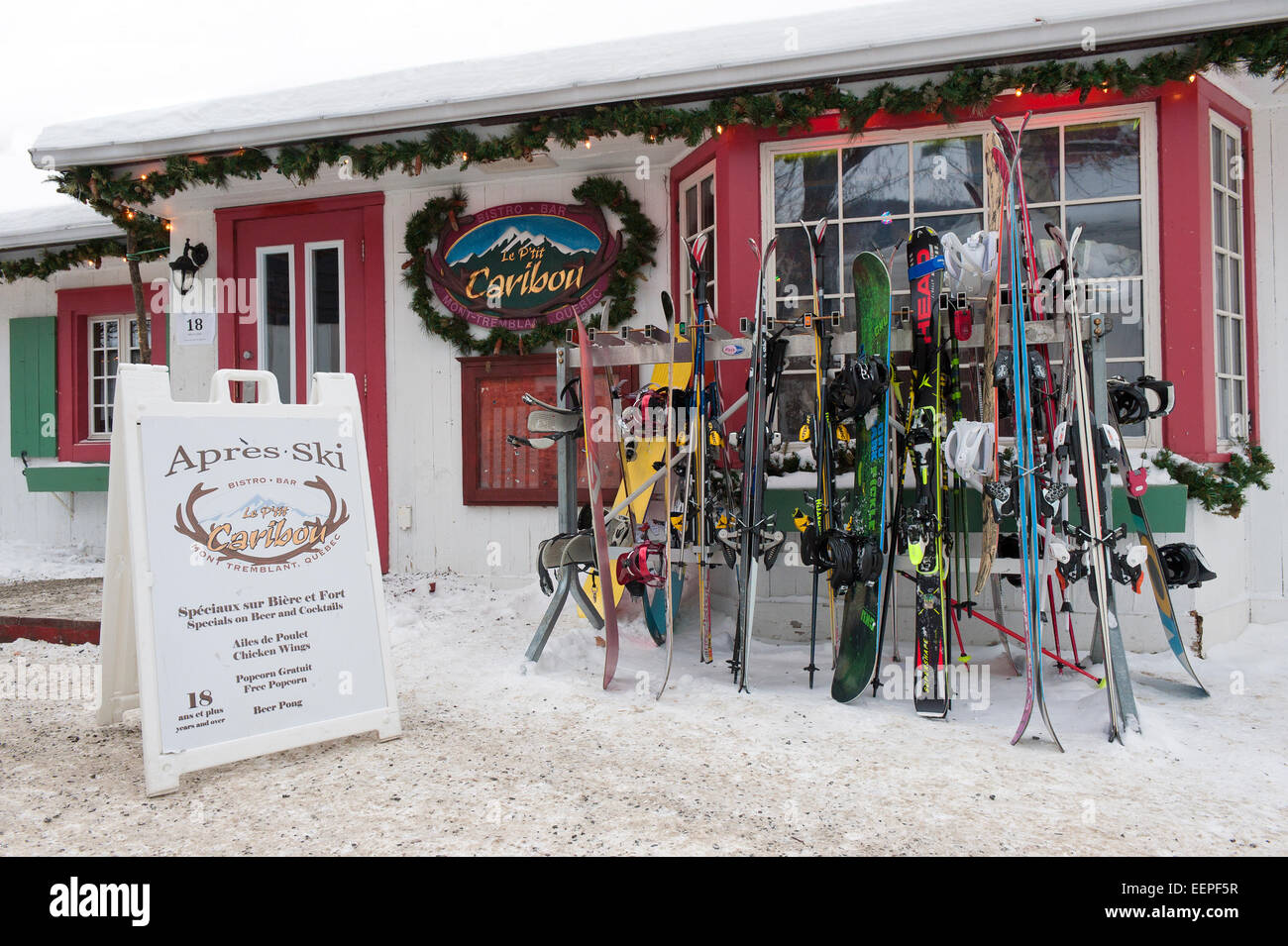 Exterior of a bar in Mont Tremblant village, at the foot of the ski slopes. - Stock Image