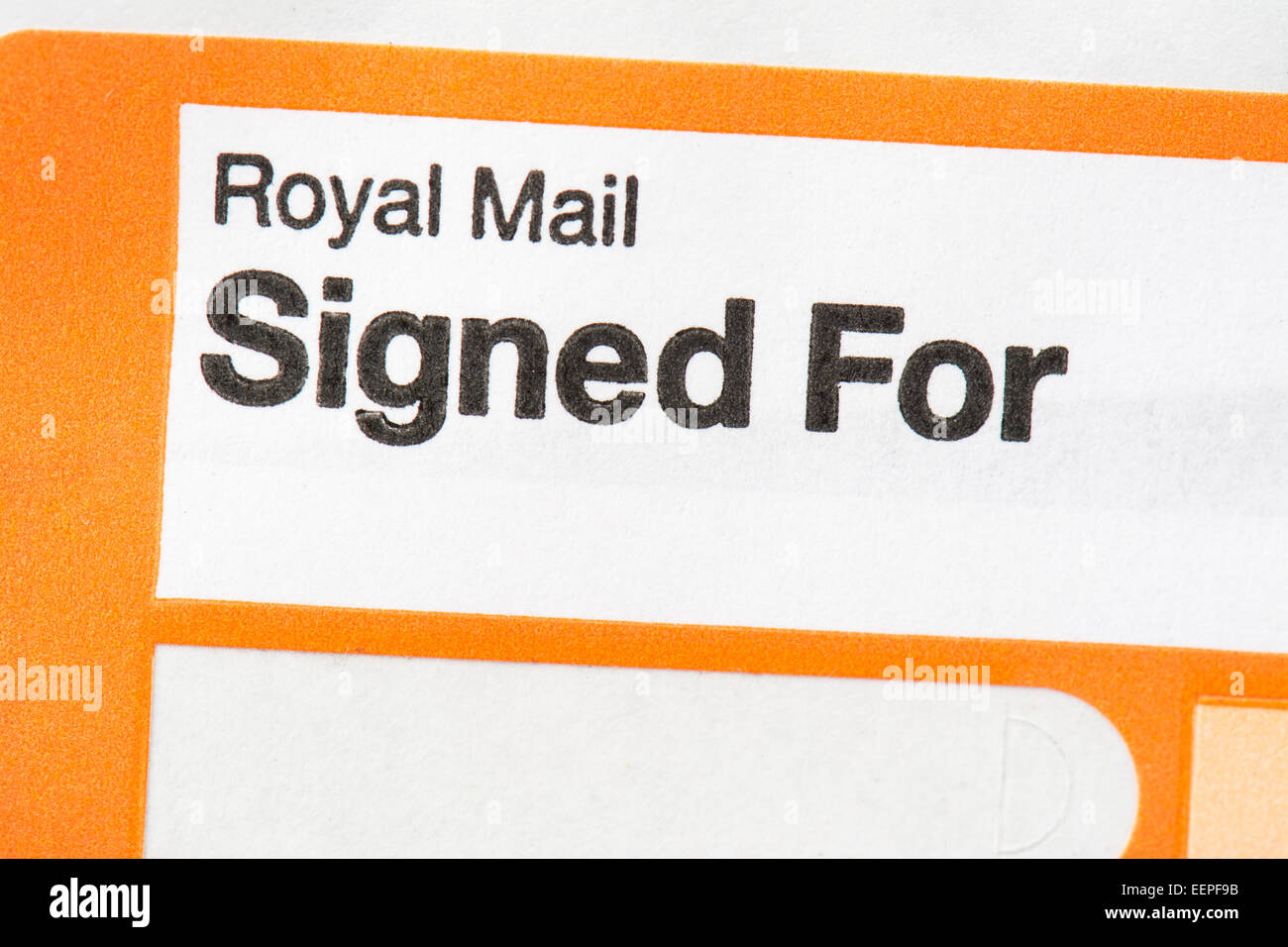 Royal Mail Signed For sticker off parcel - UK - Stock Image