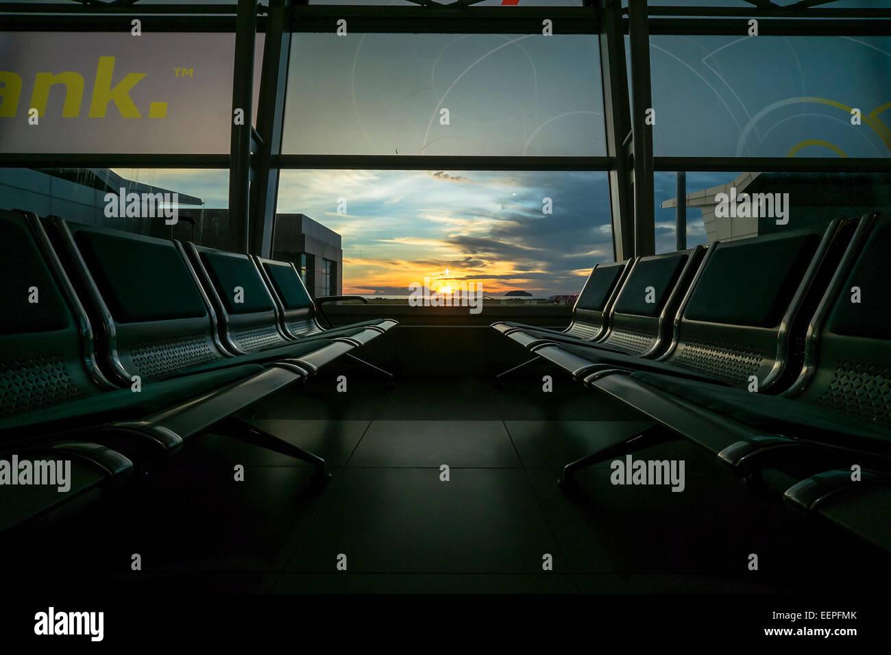 International Airport of Kota Kinabalu Malaysia during Sunset - Stock Image