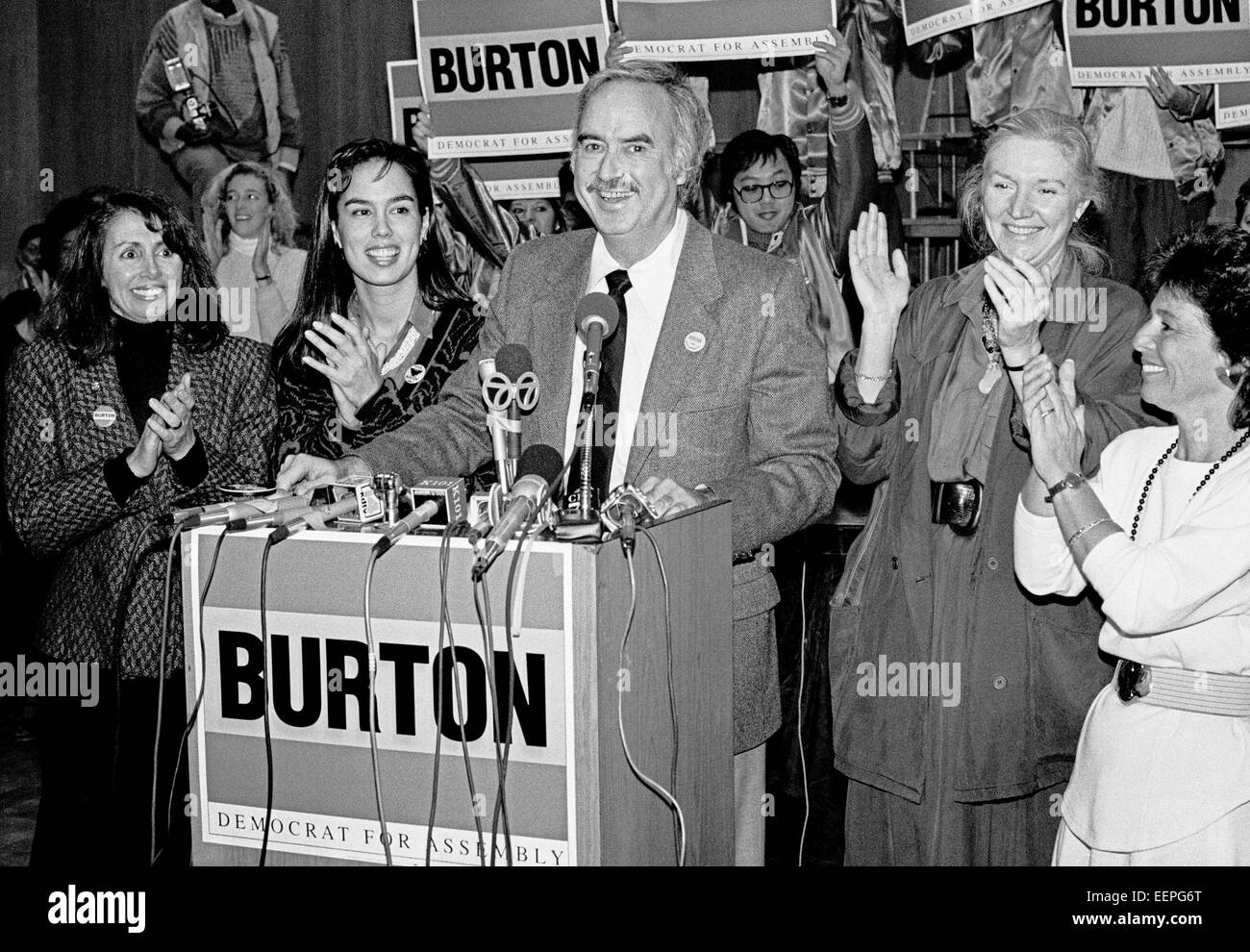 John Burton campaigns for California State Assembly 1/1988 - Stock Image