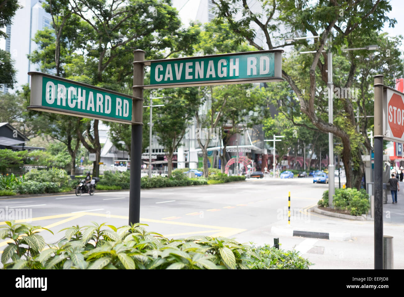 Th corner of Orchard Road and Cavenagh Road in Singapore's famous Orchard Road shopping district. - Stock Image