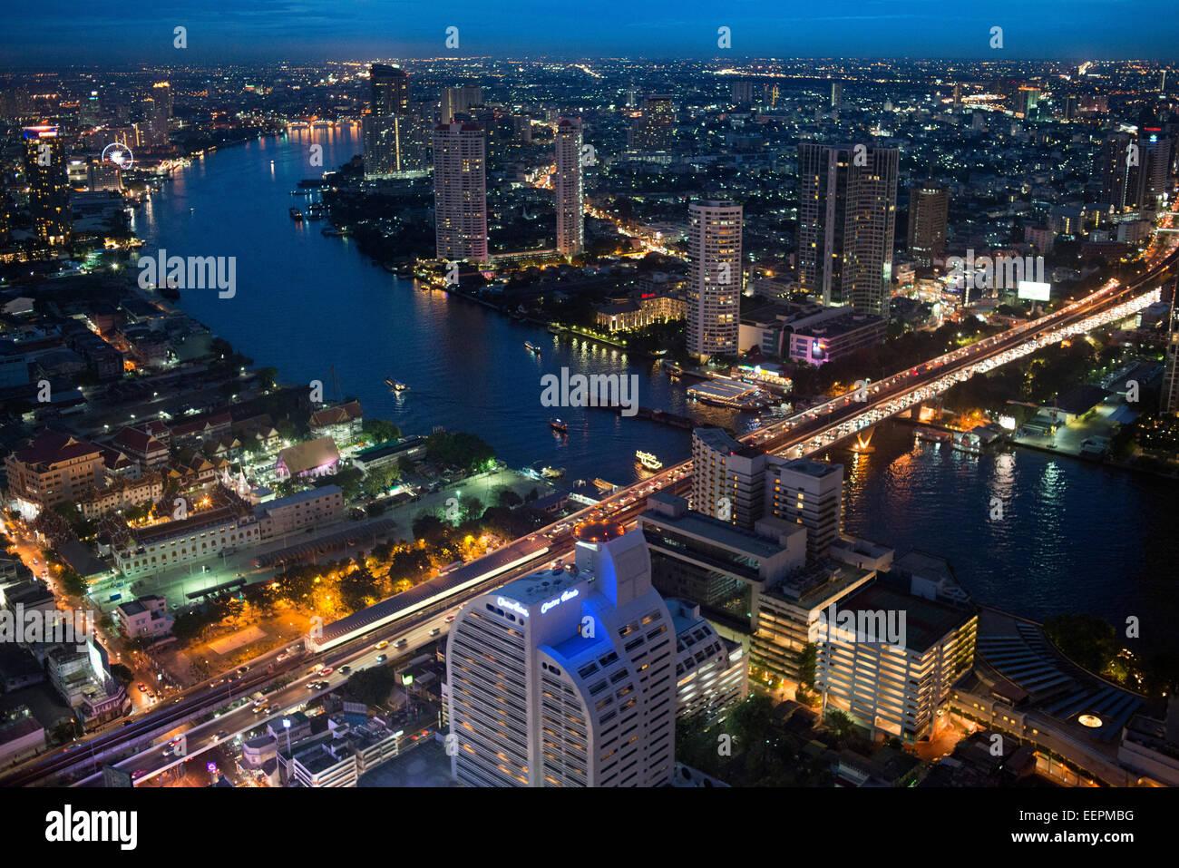Panoramic viws and landcape of Bangkok from Sirocco rooftop. Thailand. Asia, Bangkok, capital, Centara Grand, Chao Stock Photo