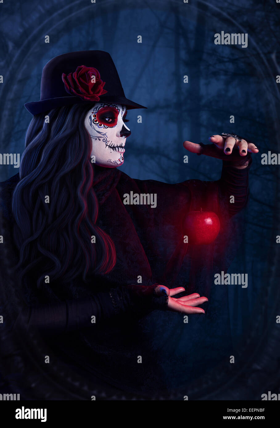 Woman with sugar skull makeup with levitating red apple at dark forest background - Stock Image