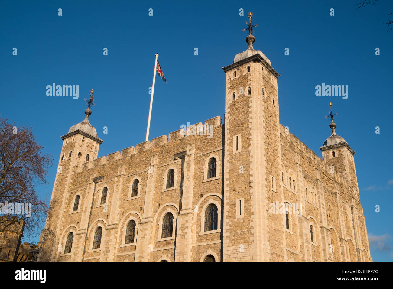 white Tower at the Tower of London on a sunny winters day,england - Stock Image