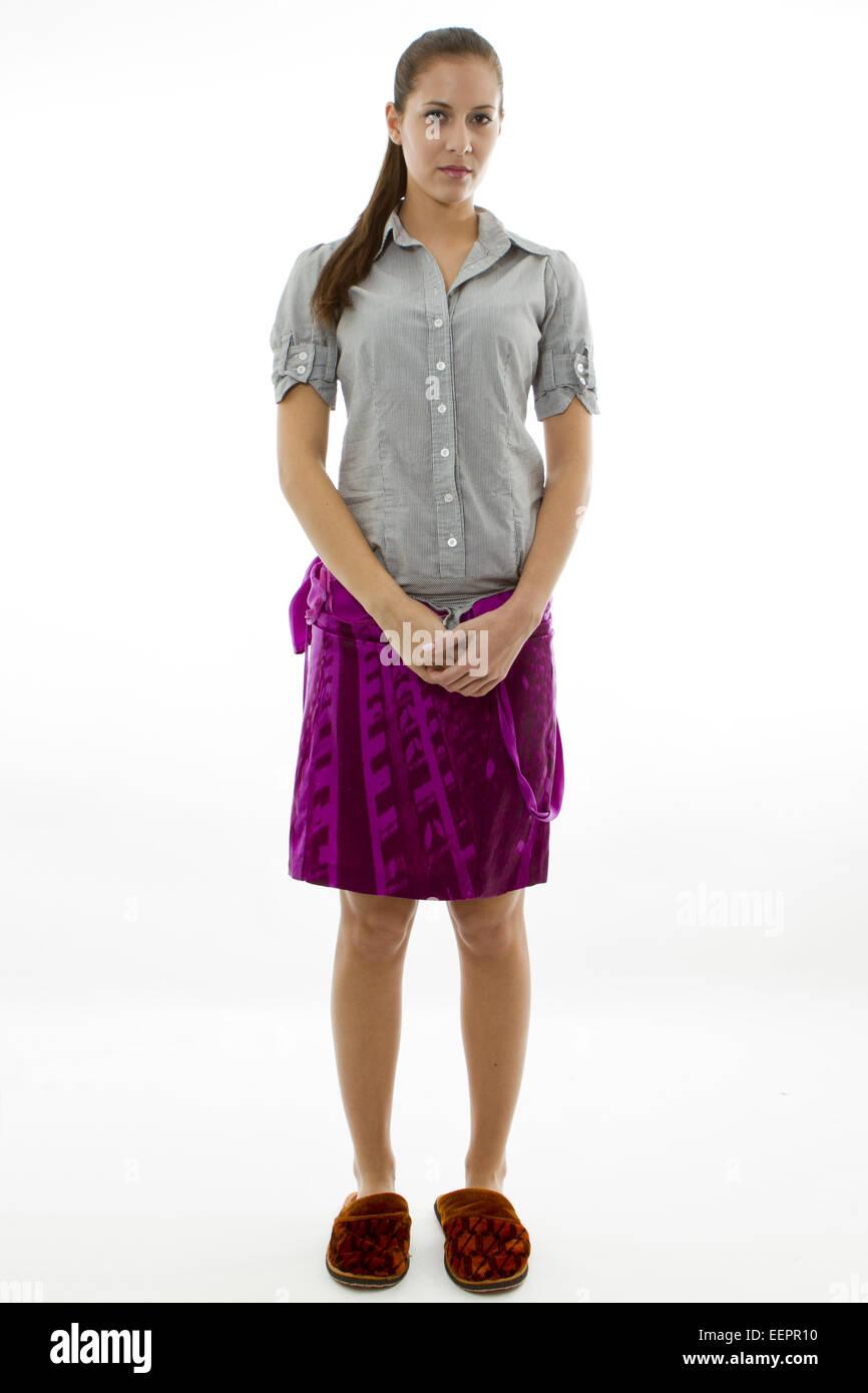 Fotomodell bei einer Pause, Photo model have a break, woman, model, break, standing, studio, clothing, slippers, - Stock Image