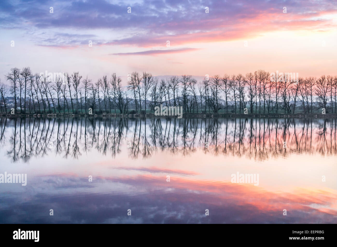Turynsky pond, Turynsky rybnik, Zaplavy, sunset, dusk, alley, reflection - Stock Image