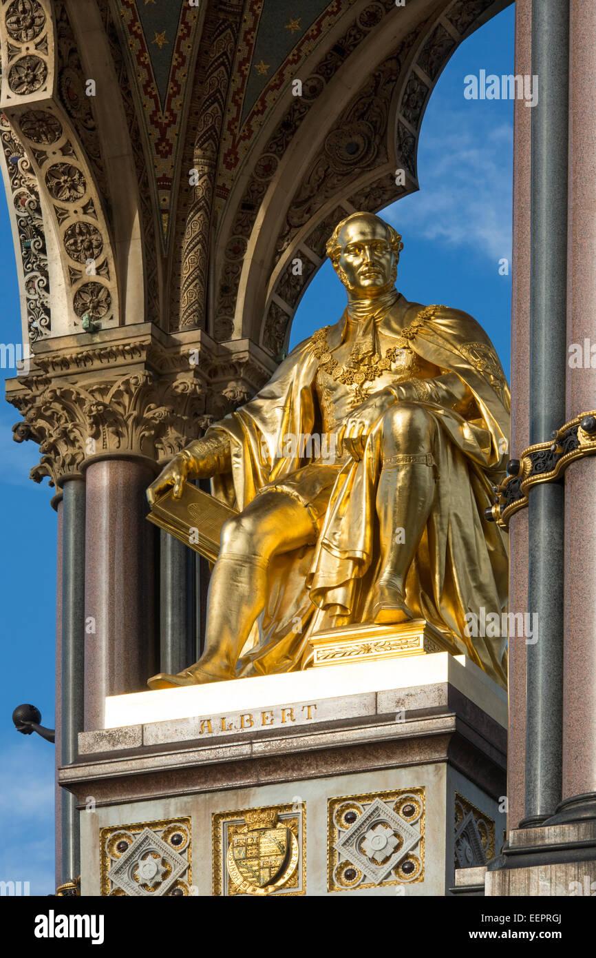 The Albert Memorial is situated in Kensington Gardens, London, England - Stock Image