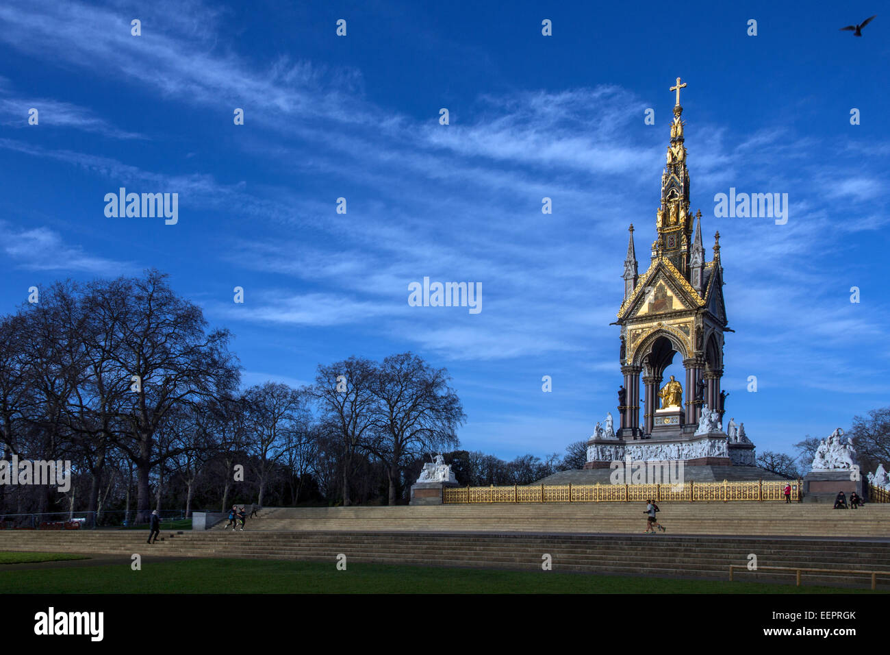 The Albert Memorial is situated in Kensington Gardens, London, England - Stock Image