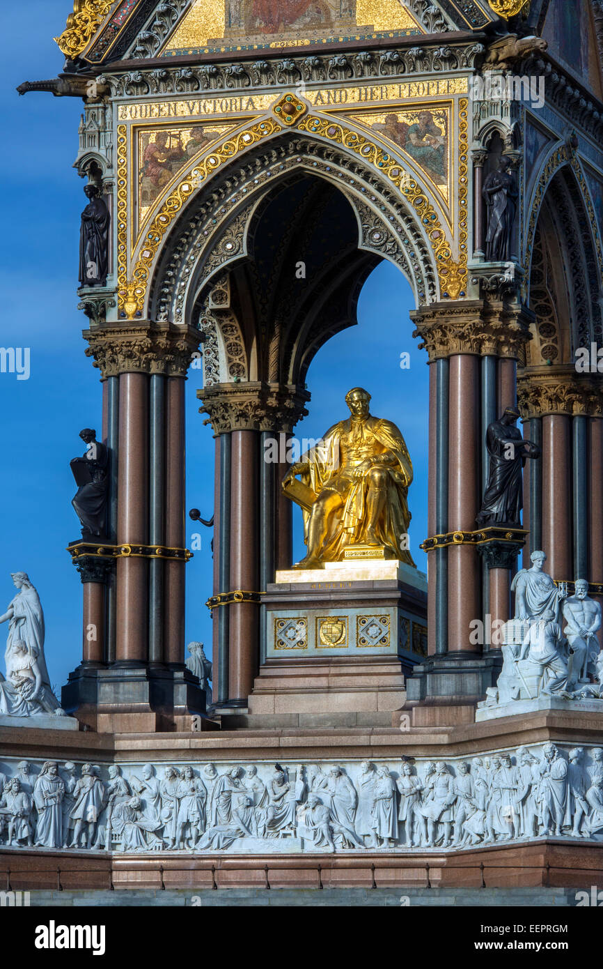 Detail on the Albert Memorial is situated in Kensington Gardens, London, England, - Stock Image