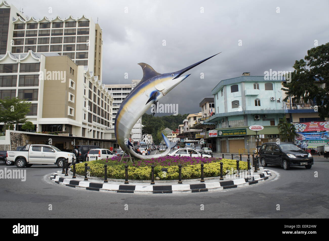 swordfish statue to commemorate Kota Kinabalu city status - Stock Image