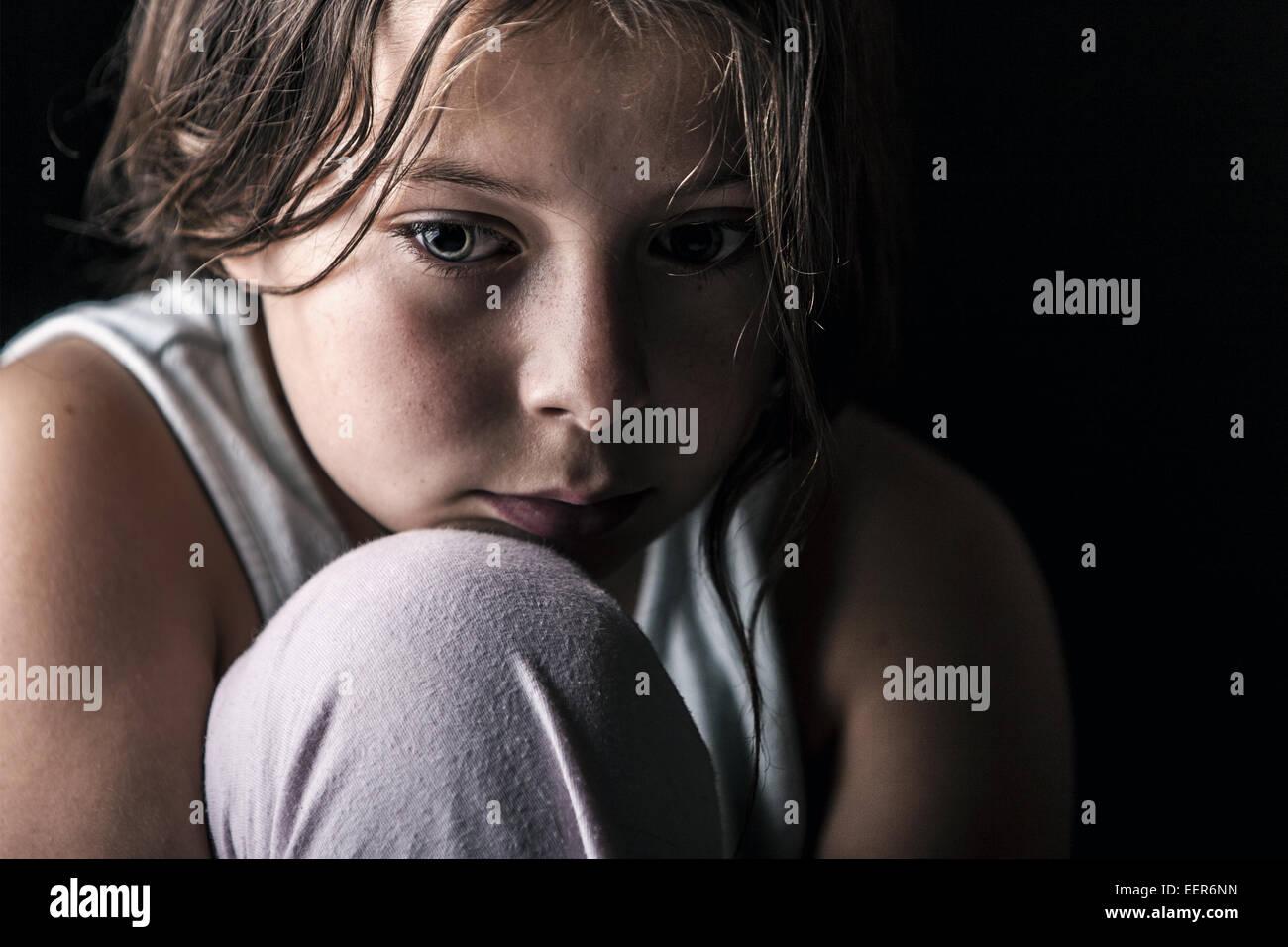 Powerful Shot of Sad Child - Stock Image
