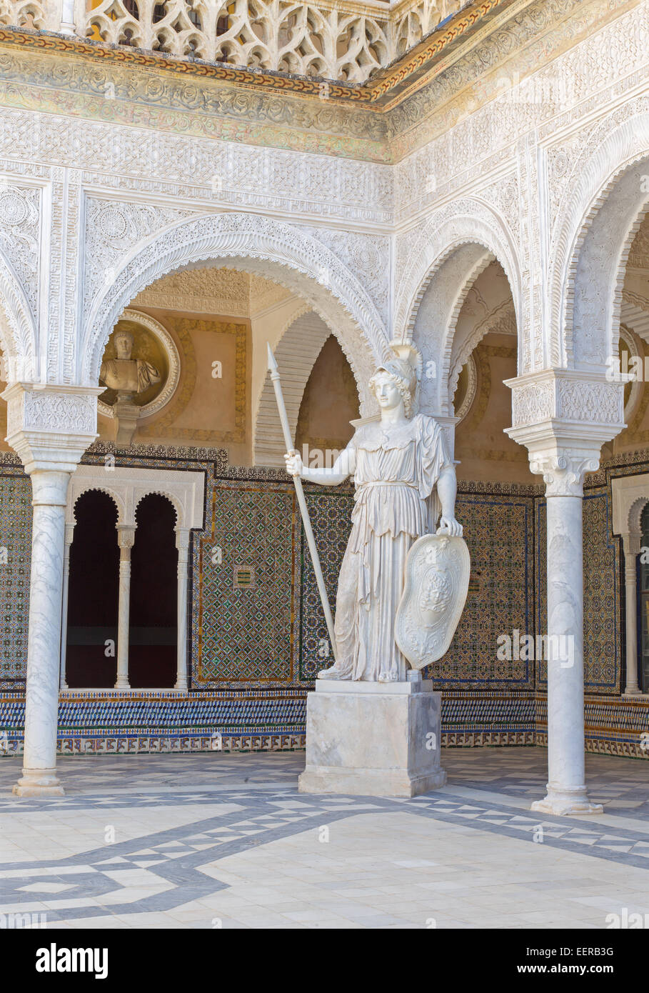 SEVILLE, SPAIN - OCTOBER 28, 2014: The copy of antique statue of Athena in the Courtyard of Casa de Pilatos . - Stock Image