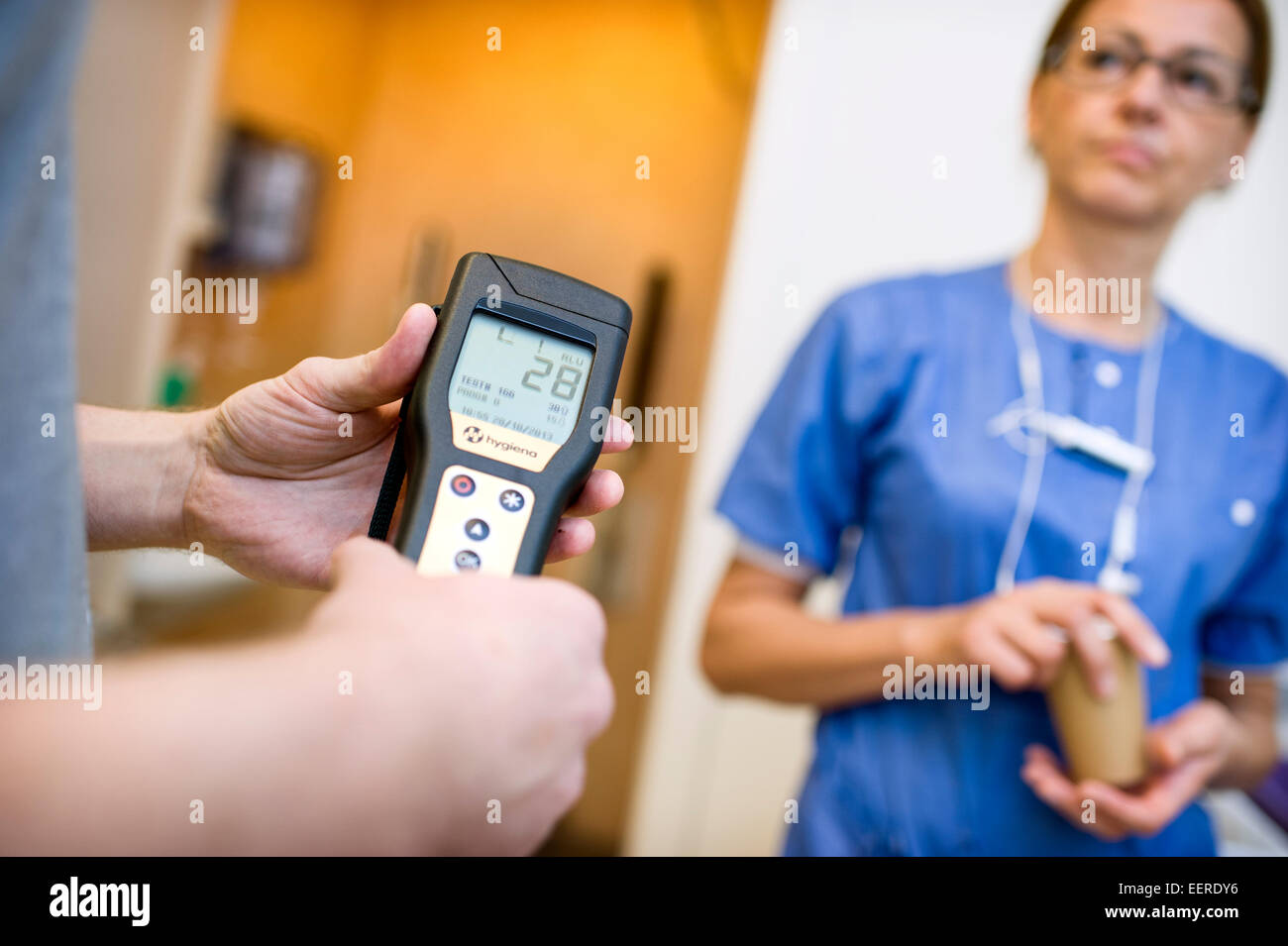 Controlling bacteria in hospital after cleaning - Stock Image