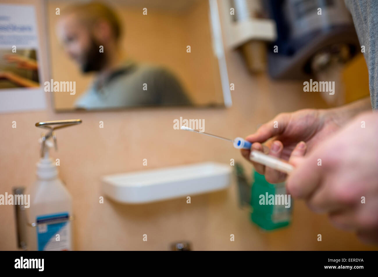 Controlling the bacterias in hospital after cleaning - Stock Image
