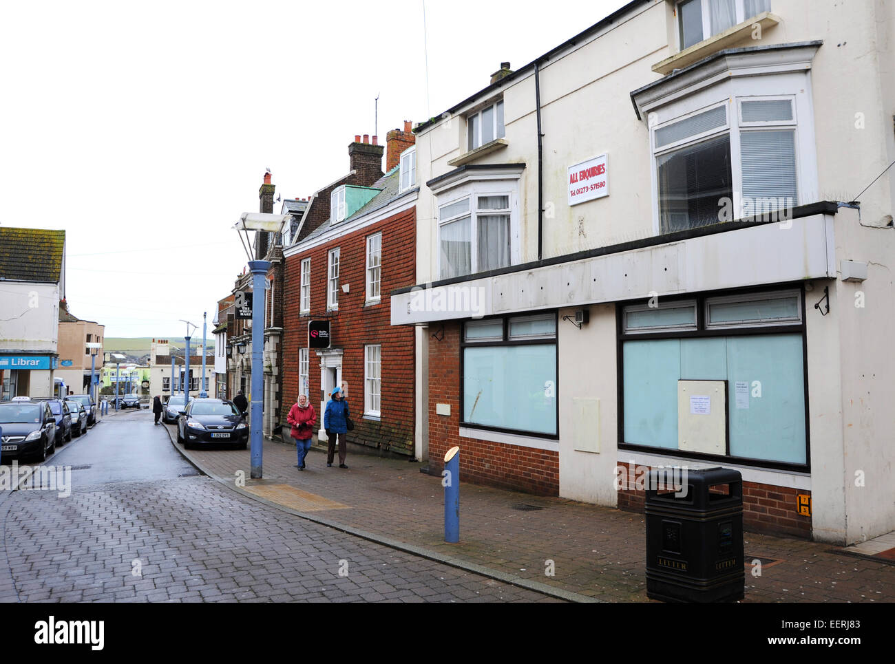 Newhaven East Sussex UK 16th January 2015 - The run down High Street Shopping area - Stock Image