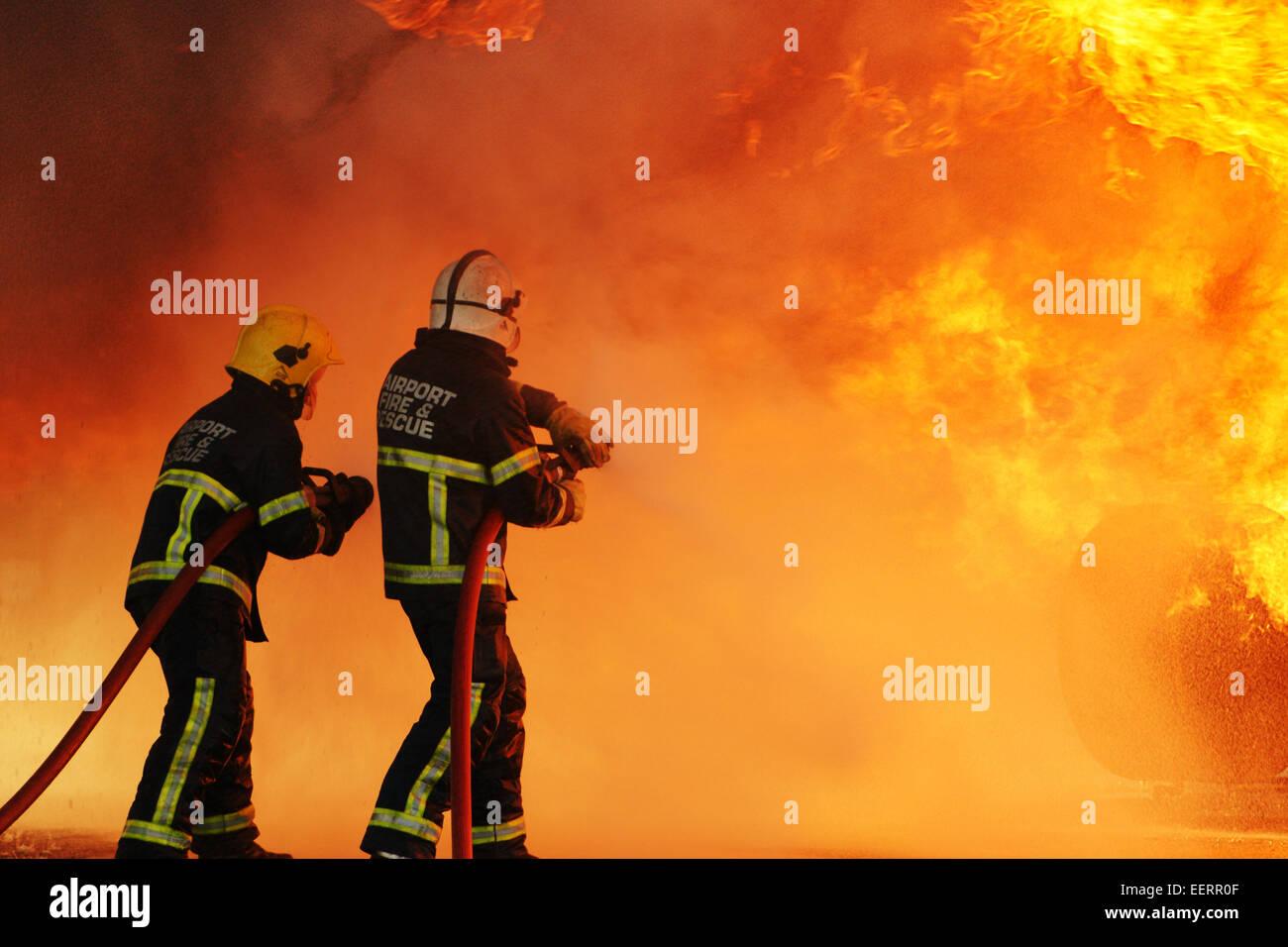 Aircraft crash Disaster, inferno - Stock Image