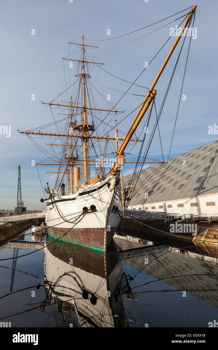 HMS Gannet at Chatham Historic Dockyard - Stock Image