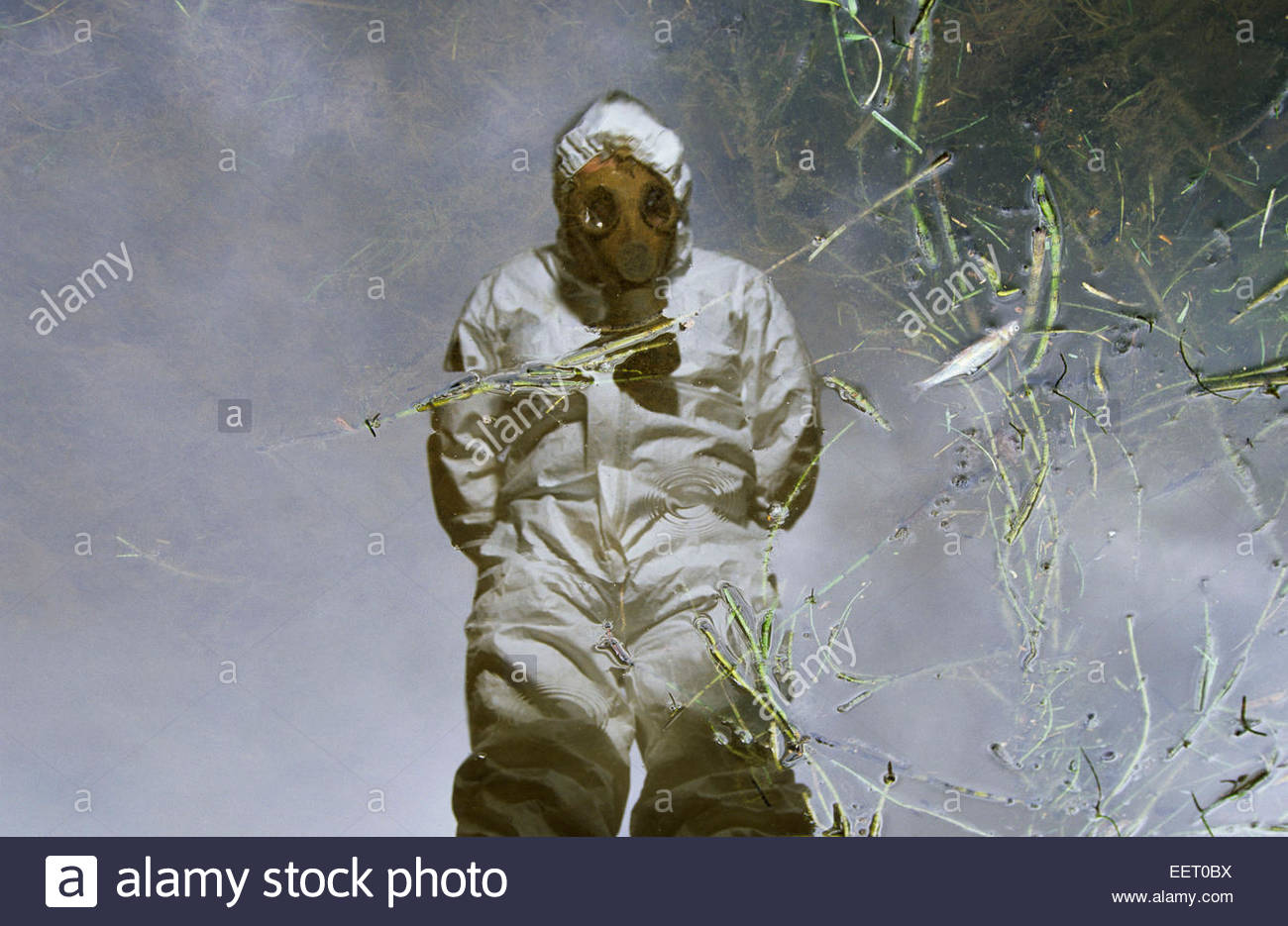 Pollution in river - Stock Image