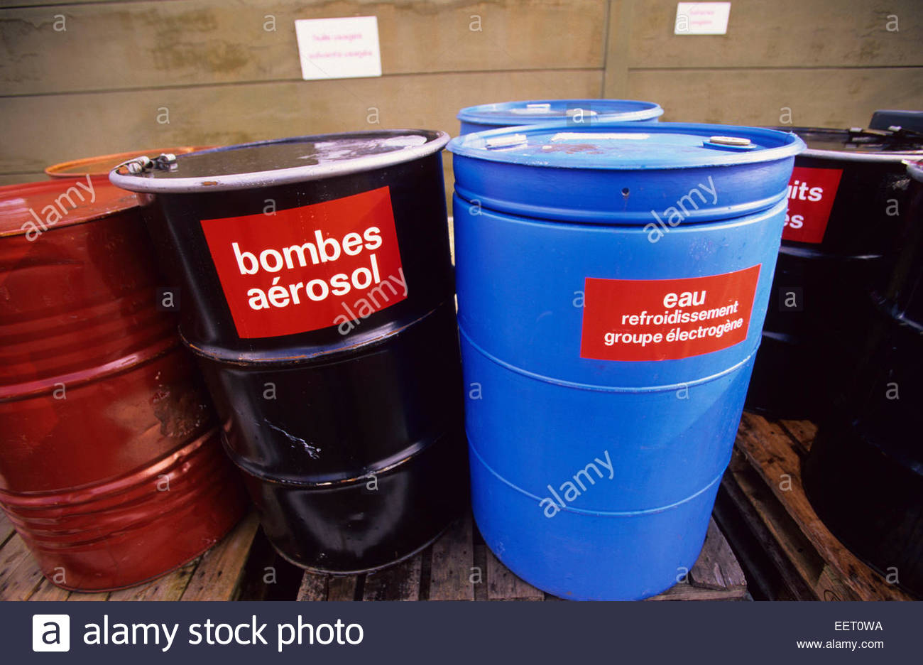 Storage of polluting products, France. - Stock Image
