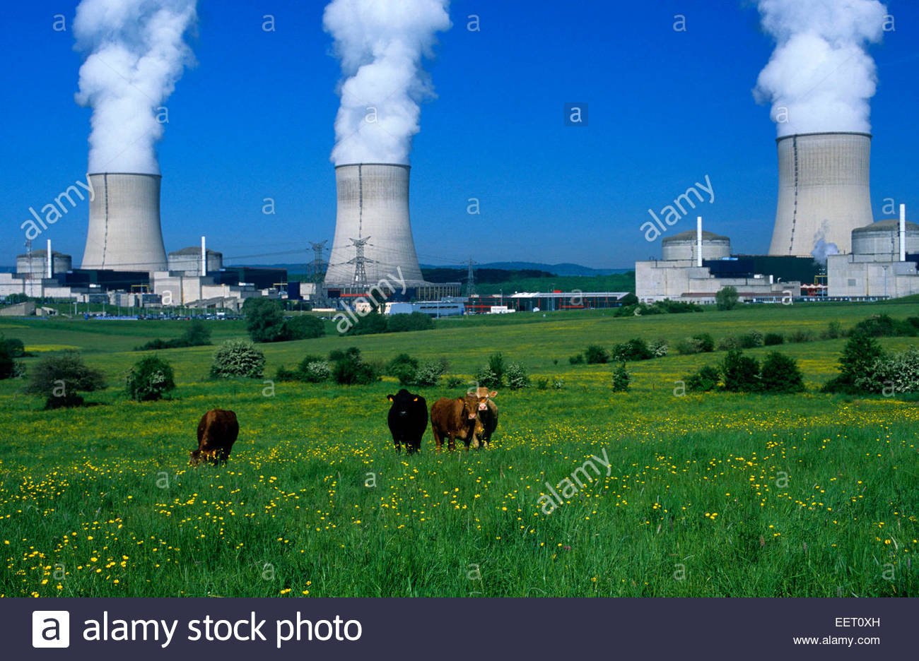 Cattenom nuclear thermal power station, Moselle, France. - Stock Image