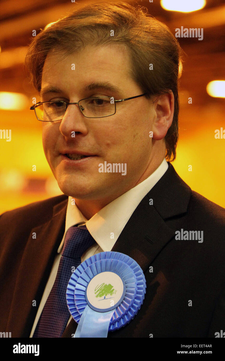 Trafford Council election count and AV referendrum . The G. H. Carnall Leisure Centre , Urmston . tory leader Matthew - Stock Image
