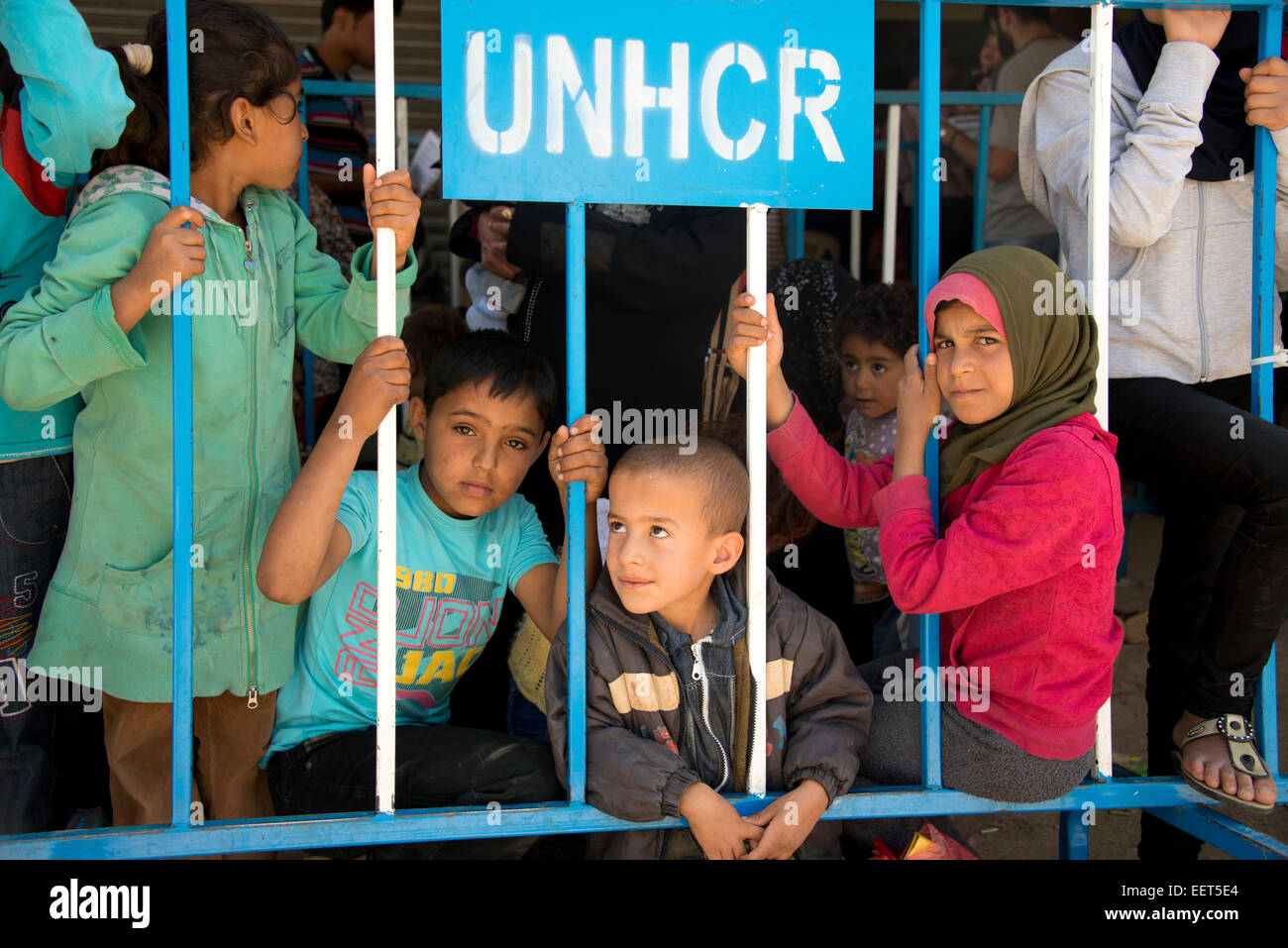 Syrian refugee children UNHCR - Stock Image