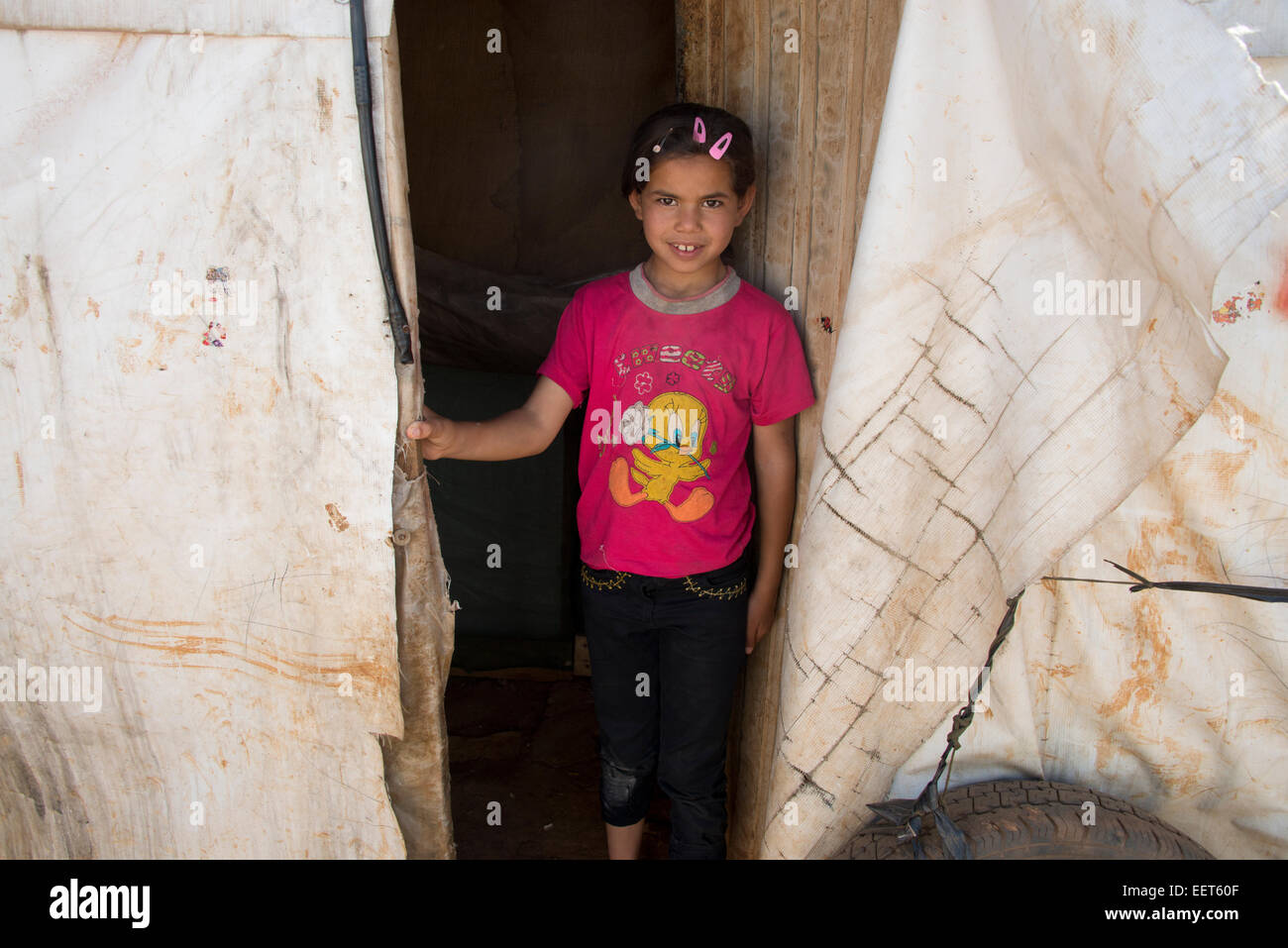 Refugee girl Lebanon - Stock Image
