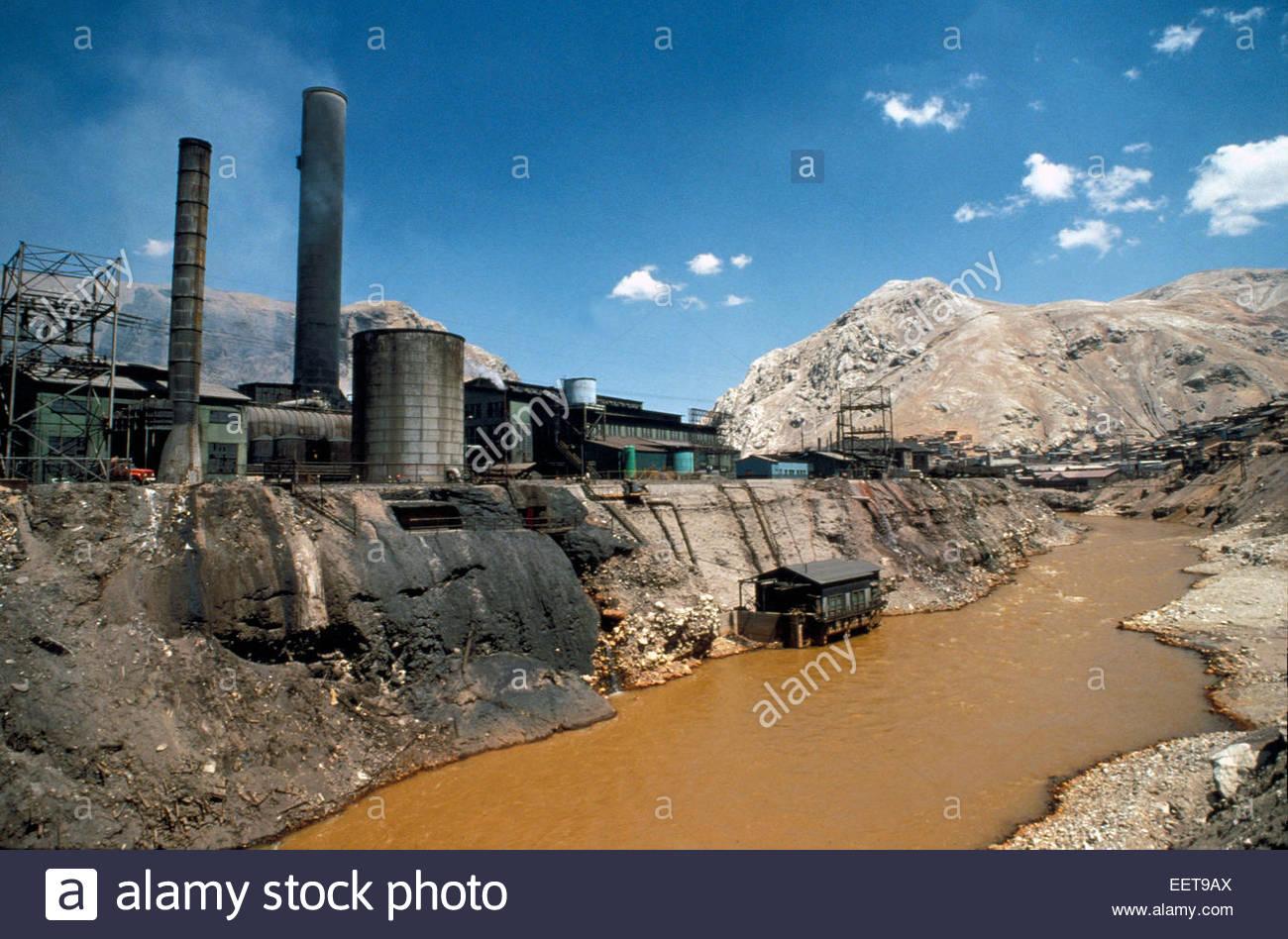 Cervo de Pasco, river pollution, Peru. - Stock Image