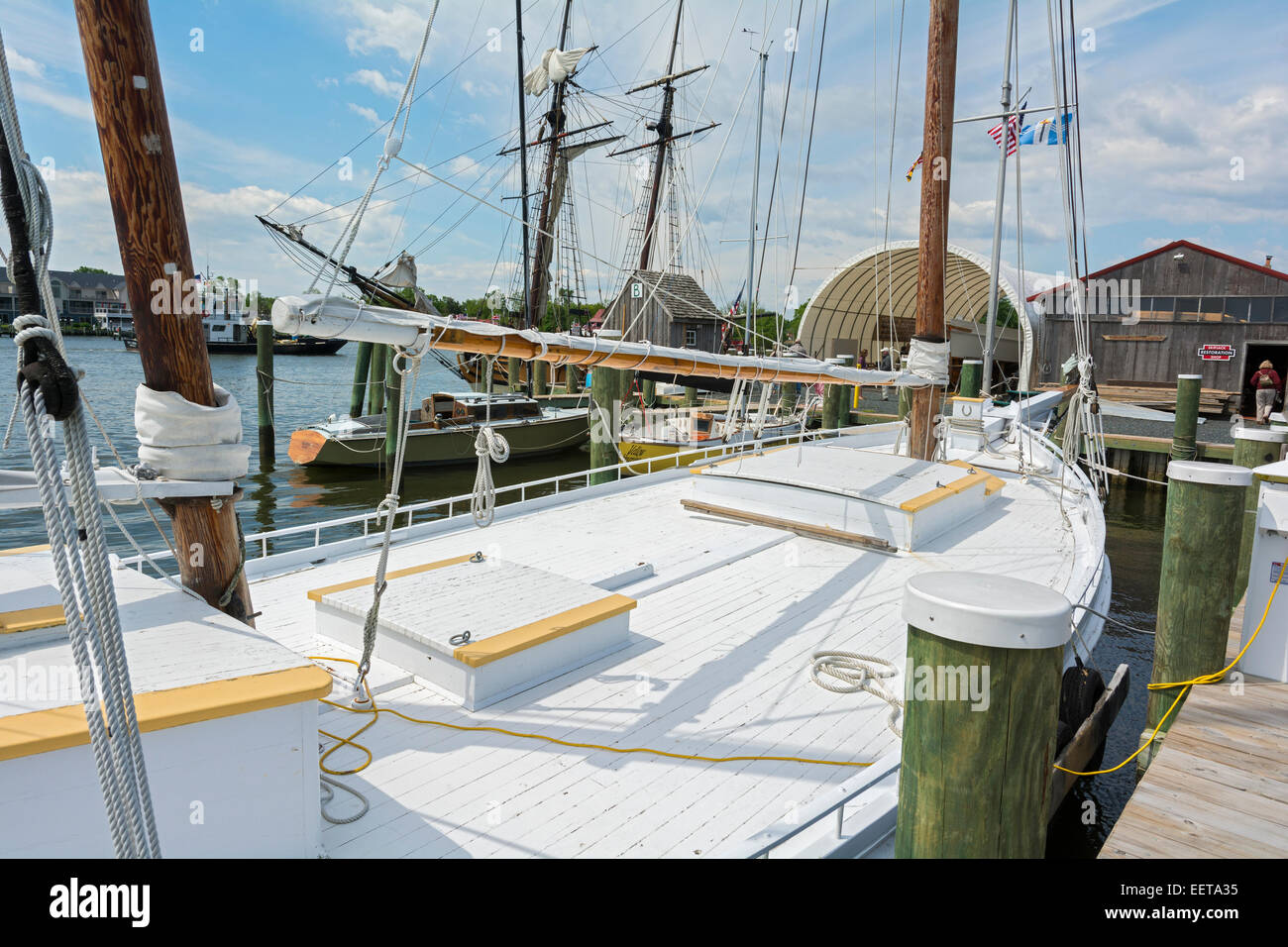 Maryland, Eastern Shore, St. Michaels, Chesapeake Bay Maritime Museum, Edna E. Lockwood, Bugeye type, built 1869 - Stock Image