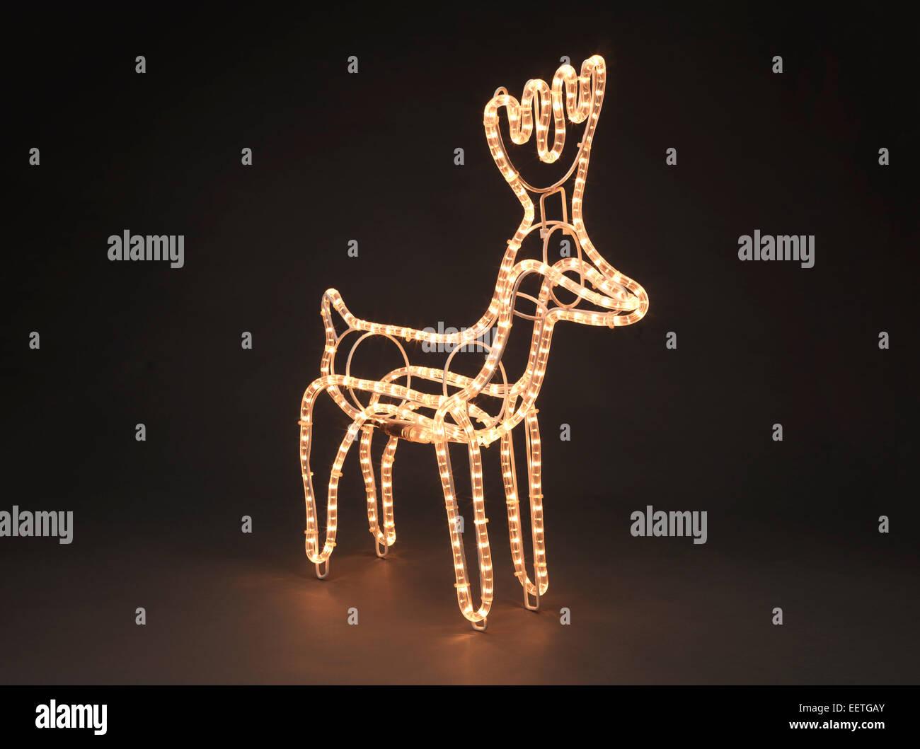 an illuminated reindeer stock image