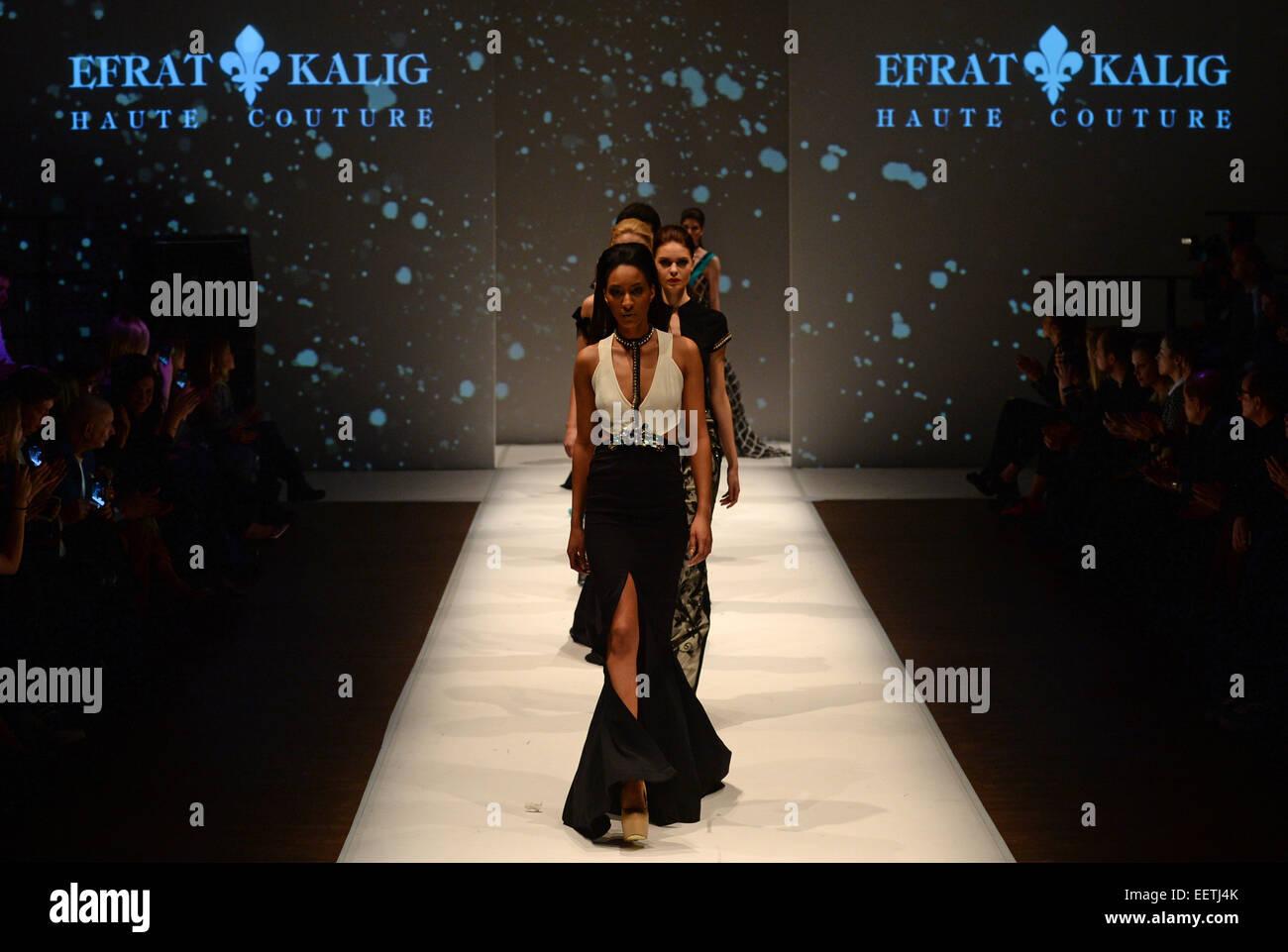 Potsdam, Germany. 20th Jan, 2015. A model presents a design of Israeli fashion designer Efrat Kalig at the fashion - Stock Image