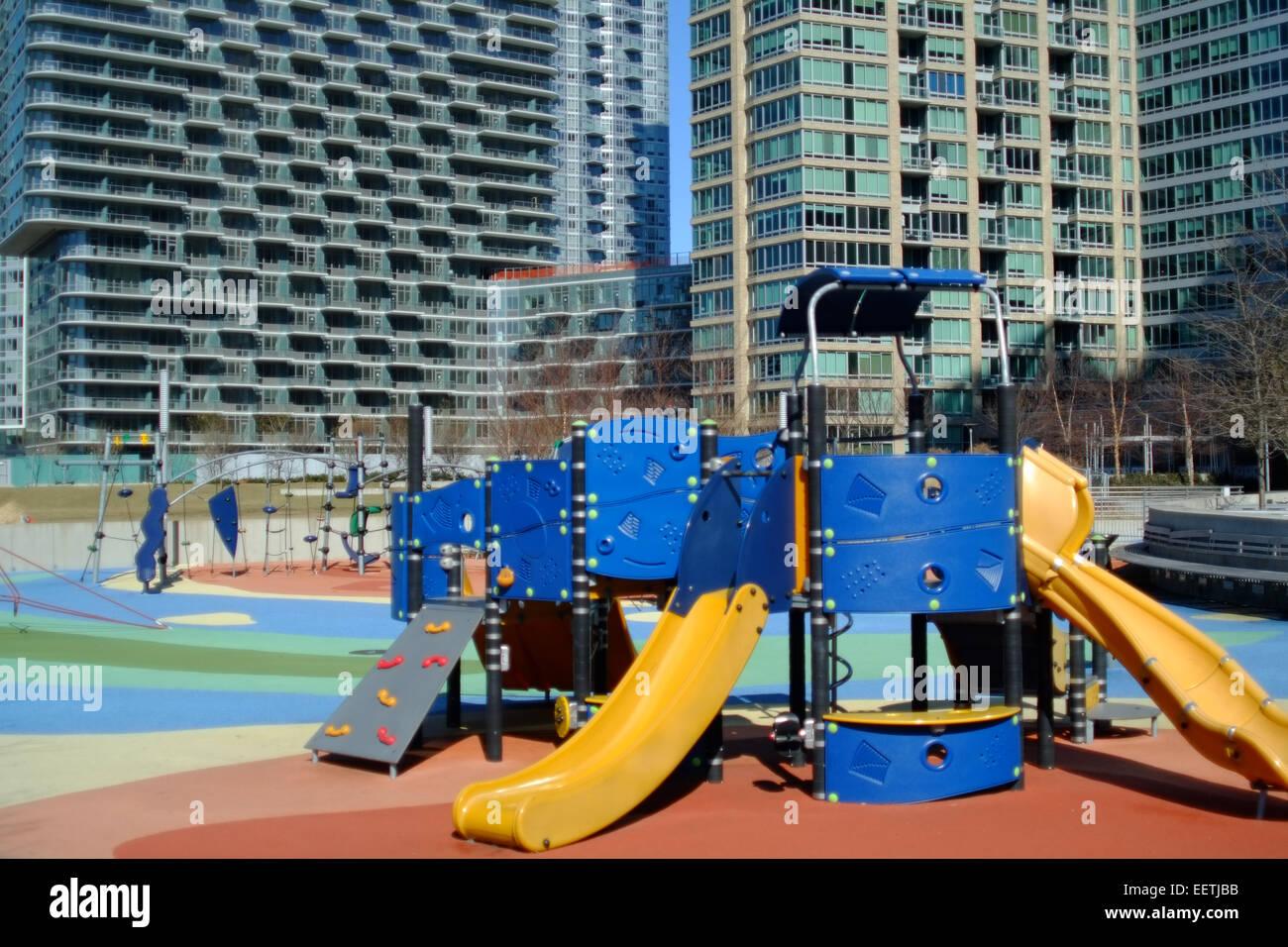 Deserted Childrens playground, The Bronx, New York - Stock Image